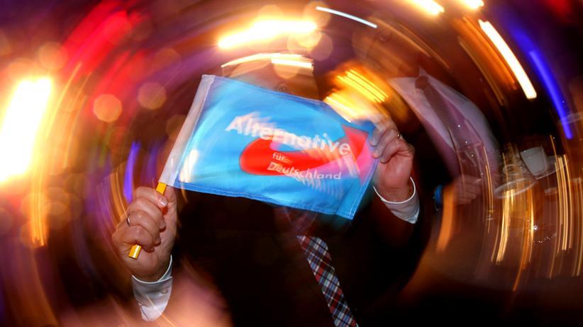 Jubelnde AfD-Anhänger in Stuttgart am Wahlabend