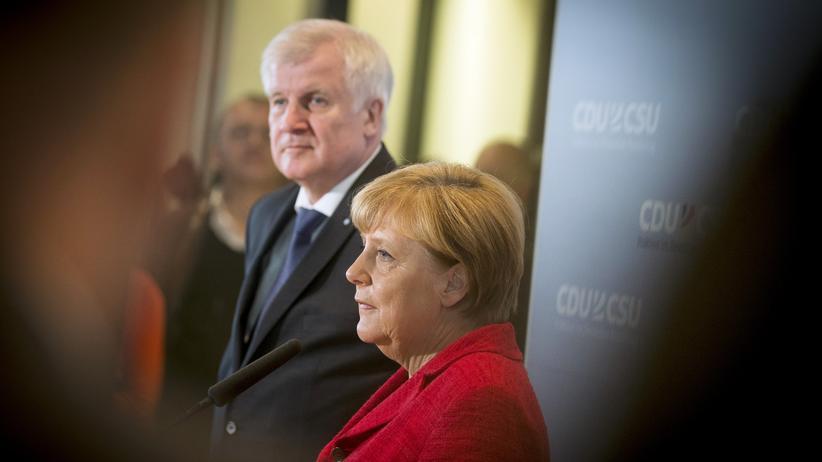 Union: Horst Seehofer, Ministerpräsident des Freistaates Bayern und Vorsitzender der CSU und Bundeskanzlerin Angela Merkel (CDU)