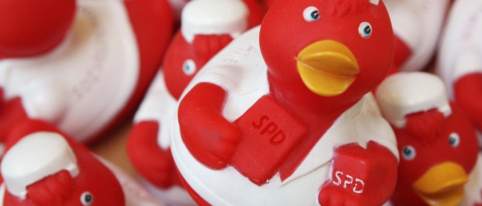 Enten mit SPD-Logo