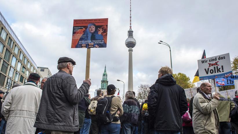 Wladimir Putin: AfD-Anhänger bei einer Demonstration der Partei mit merkelkritischem Schild