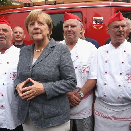 Angela Merkel beim Wahlkampf in Mecklenburg-Vorpommern