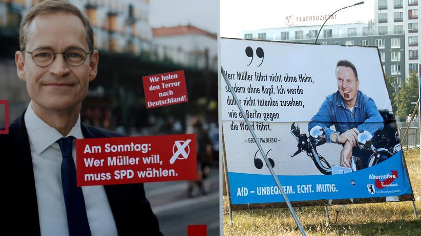 Wahl zum Abgeordnetenhaus: Da wurde noch um die Stimmen gekämpft: Wahlplakate des SPD-Bürgermeisters Michael Müller und des AfD-Spitzenkandidaten Georg Pazderski