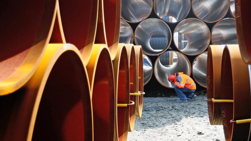 Nord Stream 2: Rohre für die geplante Nord-Stream-2-Pipeline auf Rügen