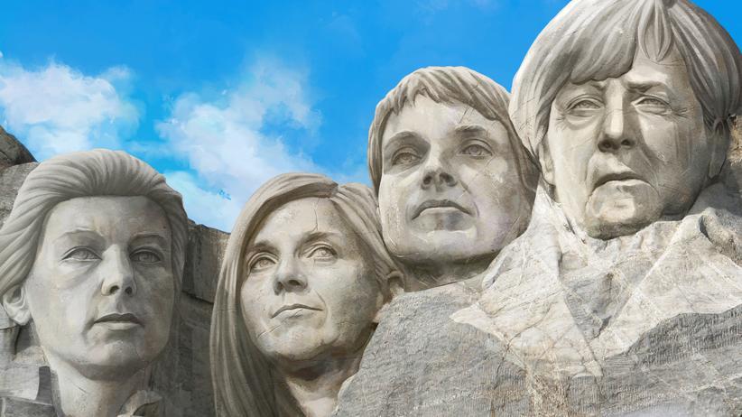 Bundestagswahl 2017: Das Mount Rushmore Memorial zeigt eigentlich vier US-Präsidenten. Hier sind aber Sahra Wagenknecht, Katrin Göring-Eckardt, Frauke Petry und Angela Merkel zu sehen.