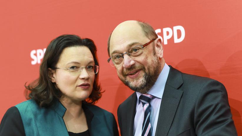 Agenda-2010-Korrekturen: Arbeitsministerin Andrea Nahles und Kanzlerkandidat Martin Schulz bei der Sitzung des SPD-Vorstands