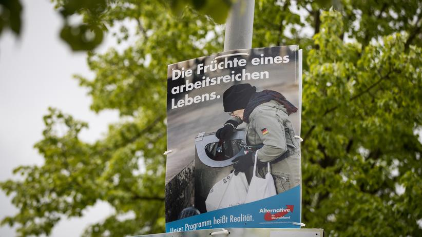 AfD: Der Wahlkampf mit sozialen Themen fruchtet nicht recht: AfD-Plakat in Nordrhein-Westfalen