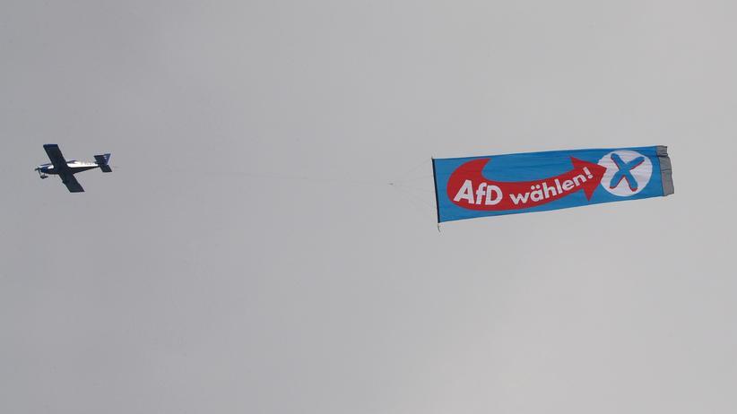 Eine Werbe-Aktion für die AfD im Luftraum Essens