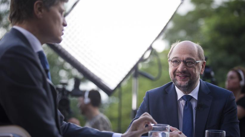 Bundestagswahlkampf: Der SPD-Kanzlerkandidat Martin Schulz beim ZDF-Sommerinterview