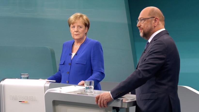 Bundestagswahl: Merkel und Schulz beim TV-Duell