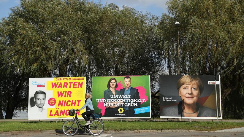 Jamaika-Koalition: Jamaika: Wahlplakate der FDP, der Grünen und der CDU in Stralsund