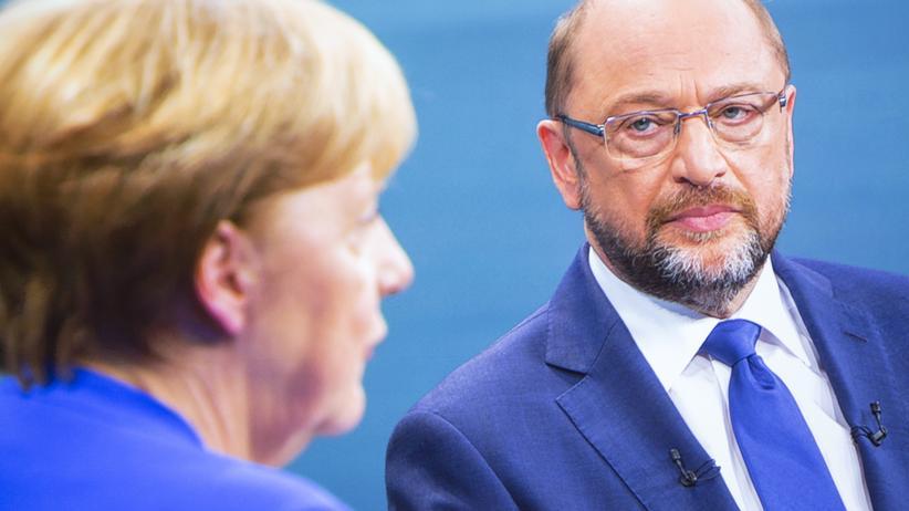 Große Koalition: Kanzlerin Angela Merkel und ihr Herausforderer Martin Schulz während des TV-Duells