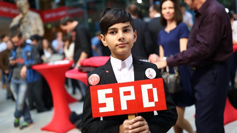 Ein junger Unterstützer der SPD auf der Wahlparty Ende September in Berlin.