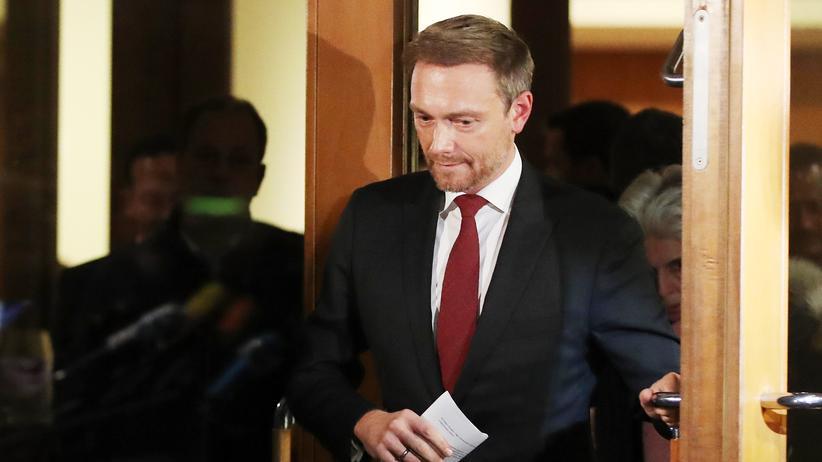 Abbruch der Sondierungen: Der Moment des Scheiterns: FDP-Chef Lindner tritt Sonntagnacht mit seiner Erklärung zum Abbruch der Jamaika-Verhandlungen vor die Presse