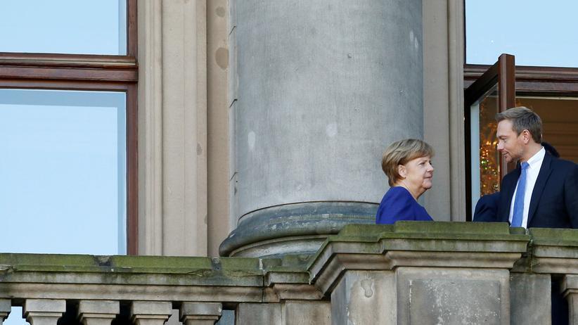 Sondierungsgespräche: Auf dem Balkon der Deutschen Parlamentarischen Gesellschaft in Berlin, wo die Sondierungsgespräche stattfinden