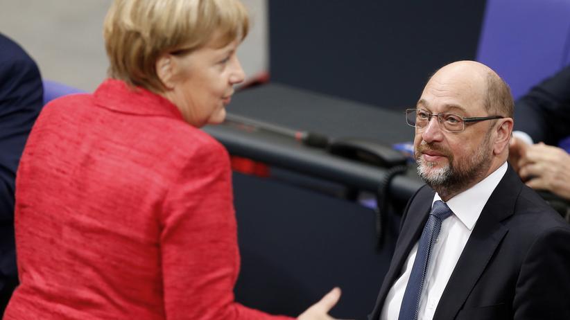 Große Koalition: Bundeskanzlerin und CDU-Chefin Angela Merkel und SPD-Chef Martin Schulz im Bundestag