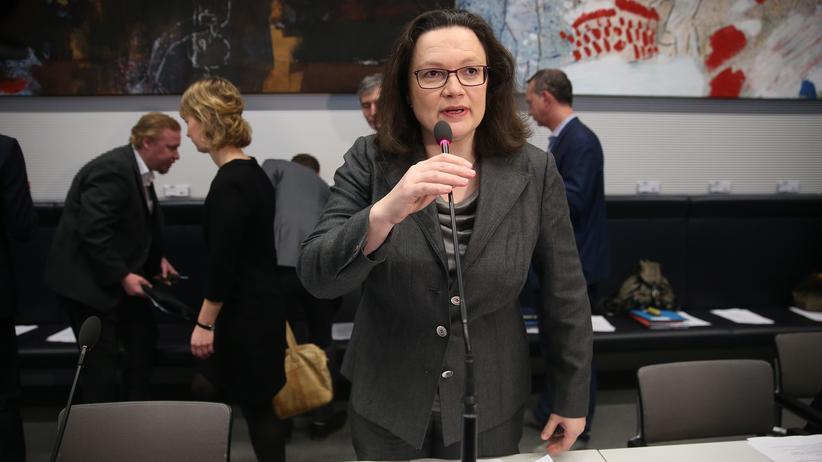 Regierungsbildung: Die SPD-Bundestagsfraktion steht laut ihrer Vorsitzenden, Andrea Nahles, hinter dem Sondierungsergebnis mit der Union.