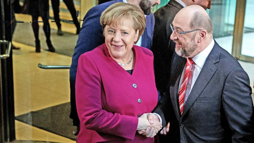 Angela Merkel und Martin Schulz vor den Sondierungsgesprächen am Sonntag in der SPD-Parteitzentrale