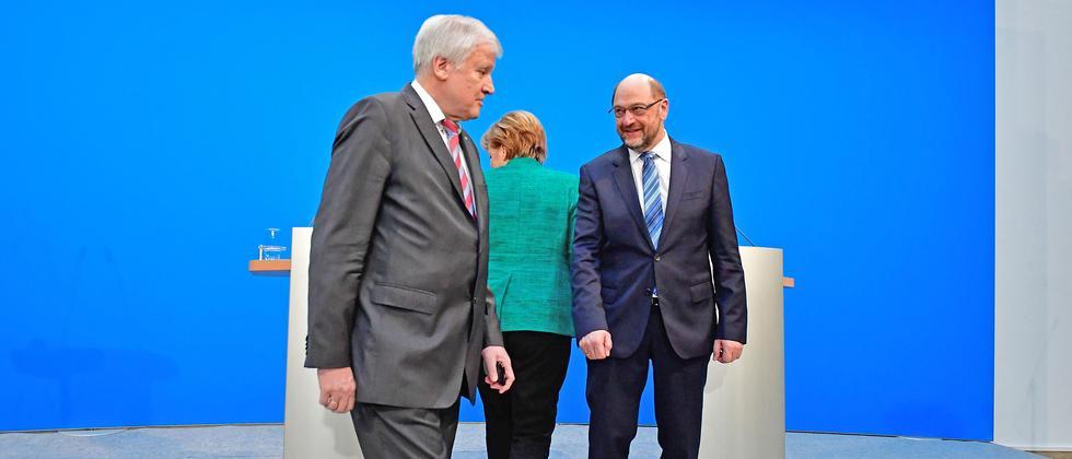 Martin Schulz SPD Angela Merkel CDU Horst Seehofer CSU