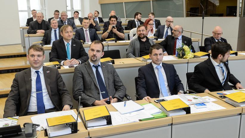 AfD Sachsen-Anhalt: Andrè Poggenburg (l.) neben Daniel Roi im Landtag von Sachsen-Anhalt (2016)