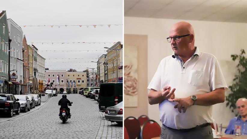 AfD in Bayern: Pfarrkirchen, Niederbayern, 12.000 Einwohner. Links: eine Straße im Ortszentrum. Rechts: der AfD-Spitzenkandidat Wolfgang Hansbauer
