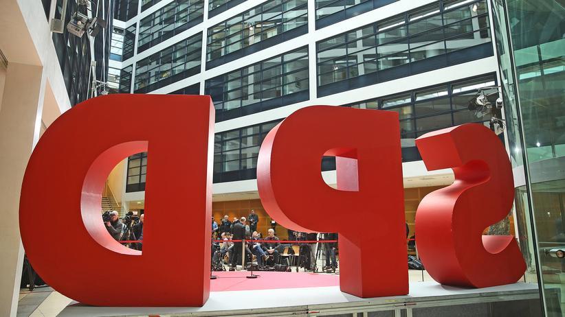 SPD: Logo der SPD in der Parteizentrale in Berlin