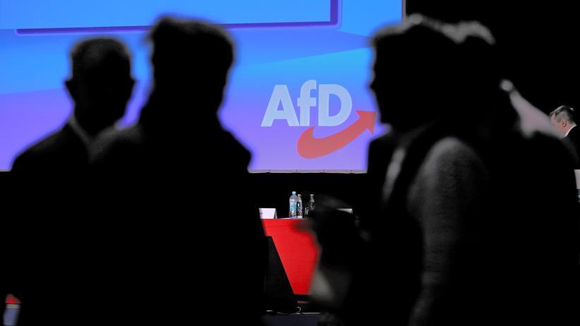 Alternative für Deutschland: Ein Logo der AfD auf einem Treffen der Partei in Magdeburg, Sachsen-Anhalt