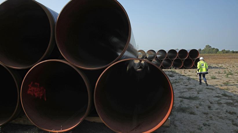 Nord Stream 2: Vorbereitungen für die Eugal-Pipeline, über die das Gas aus der Nord-Stream-2-Pipeline weiter transportiert würde, bei Golßen in Brandenburg.