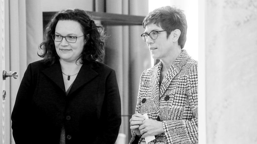 Große Koalition: Andrea Nahles, SPD-Chefin und Annegret Kramp-Karrenbauer, CDU-Chefin