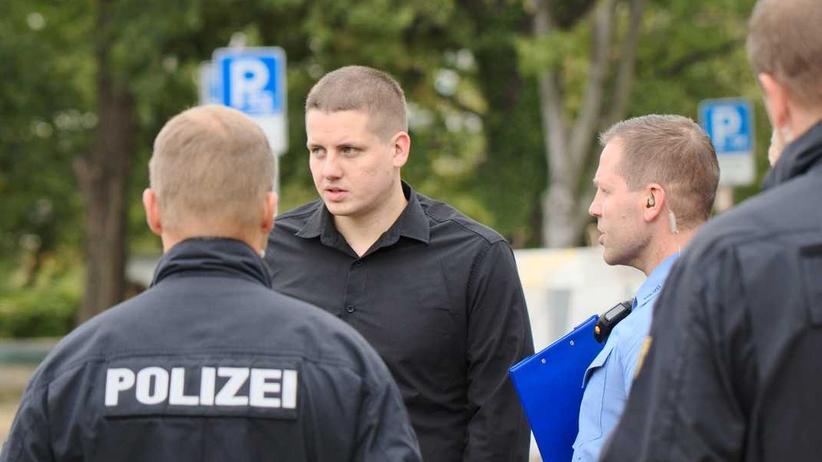 Rechtsextremismus: Daniel Fiß, Co-Chef der Identitären, bei einer Veranstaltung der IB 2018 in Dresden