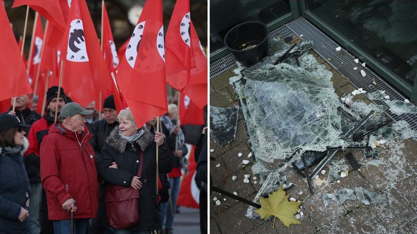 Michael Kretschmer: Rechter Protest gegen Merkels Besuch in Chemnitz (links), eingeschlagene Scheibe eines türkischen Restaurants im November 2018 (rechts)