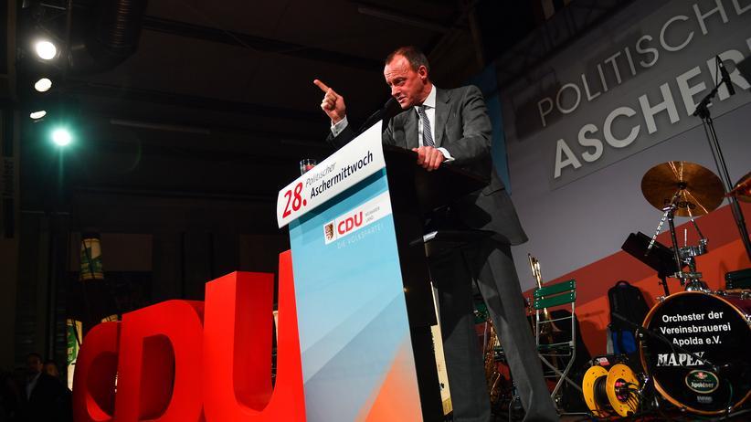 Politischer Aschermittwoch: Friedrich Merz in der Festhalle der Vereinsbrauerei Apolda beim Politischen Aschermittwoch der CDU Thüringen