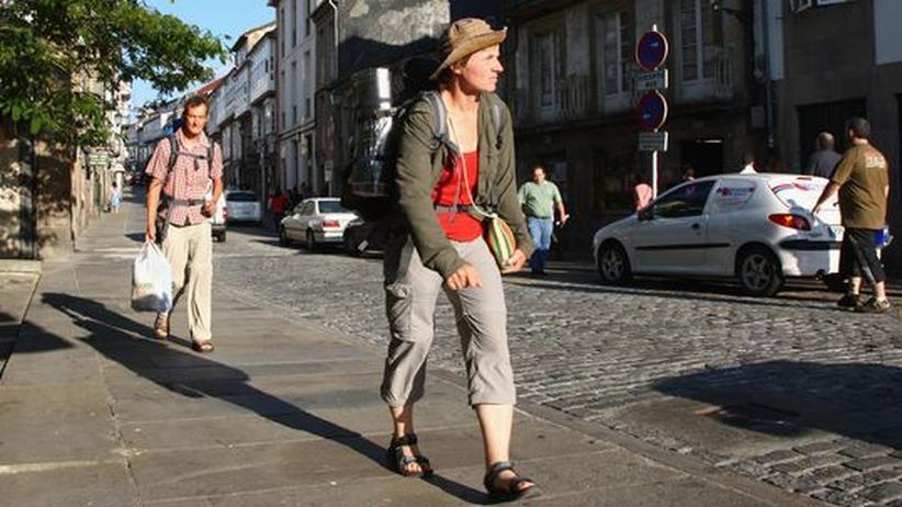 Pilgerfahrt nach Spanien: Pilger in Santiago De Compostela