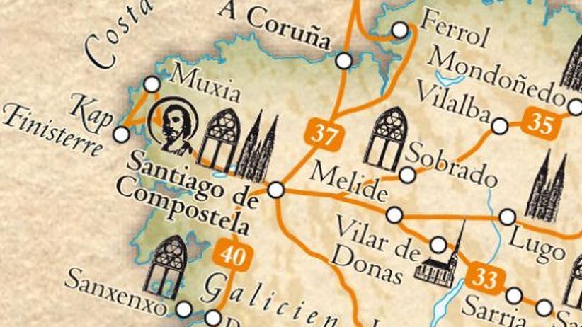 Über vierzig Pilgerwege führen zum Grab des Heiligen Jacob