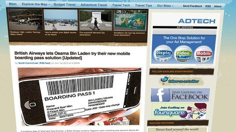 Ein Screenshot des Reise-Blogs Gadling zeigt die Bordkarte