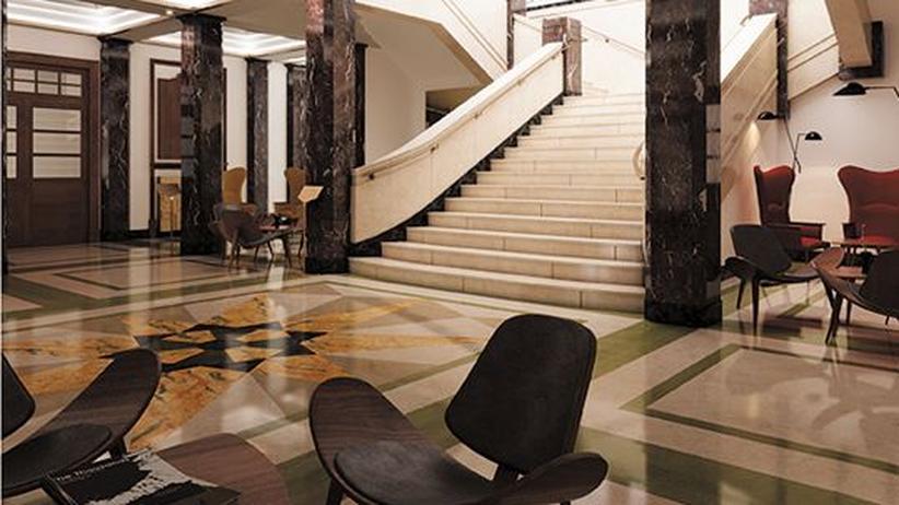 Edler Marmor und lässiger Fünfziger-Jahre-Chic hinter klassizistischer Fassade
