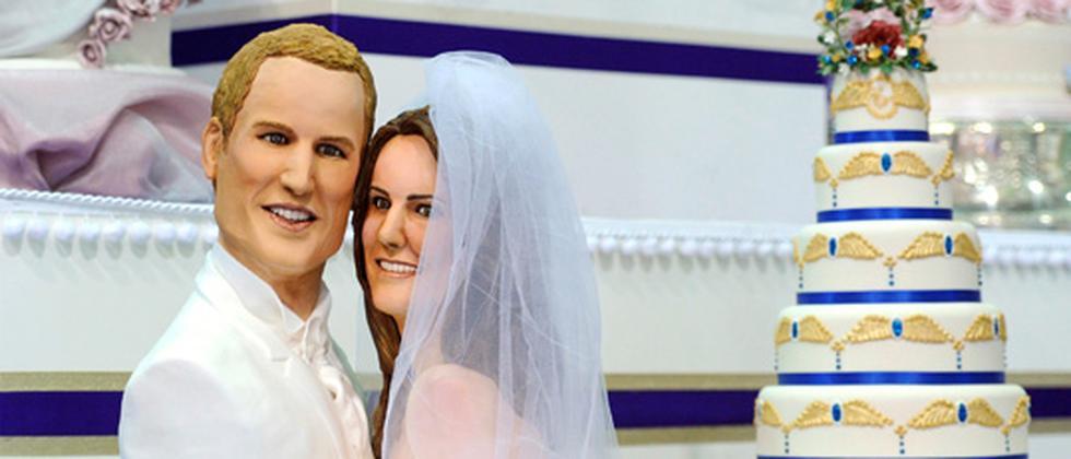 Achtzig Stunden Arbeit waren für diesen Kuchen mit einem Abbild des Paares nötig.
