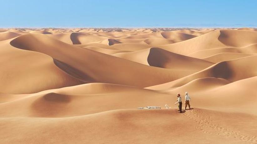"""Film und Reise: Tim, Struppi und Kapitän Haddock (Mitte) stehen in der Wüste. Szene aus Steven Spielbergs Kinofilm """"Die Abenteuer von Tim und Struppi – Das Geheimnis der 'Einhorn'""""."""