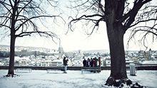 Der Lindenhof über den Dächern der Altstadt gehört im Sommer den Boulespielern, im Winter den Touristen.