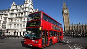LONDON, ENGLAND - MARCH 27: A double decker bus makes its way past the Houses of Parliament on March 27, 2012 in London, England. (Photo by Dan Kitwood/Getty Images)