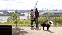 Blick vom Altonaer Balkon auf den Containerhafen