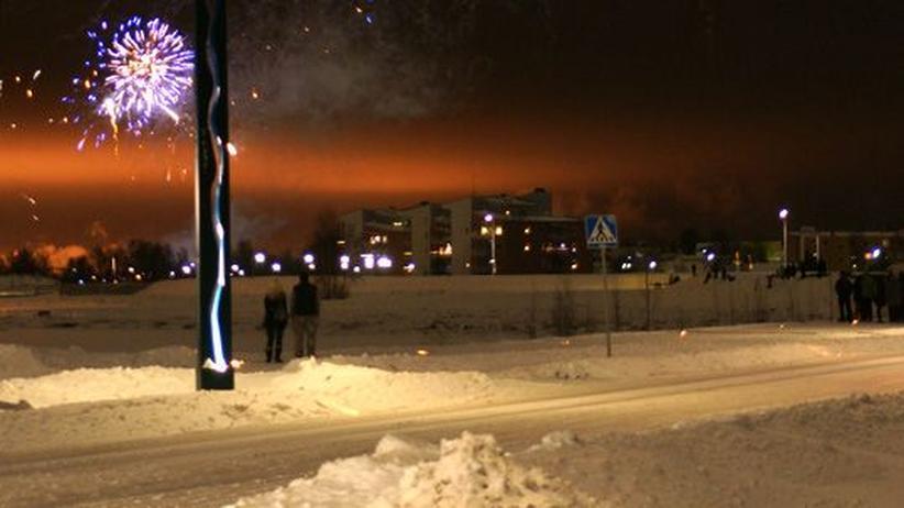 Jahreswechsel: Feuerwerk über Haparanda und Tornio