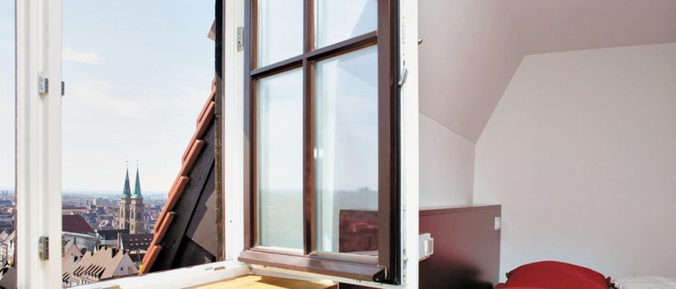 Zimmer mit Aussicht in der Jugendherberge Nürnberg