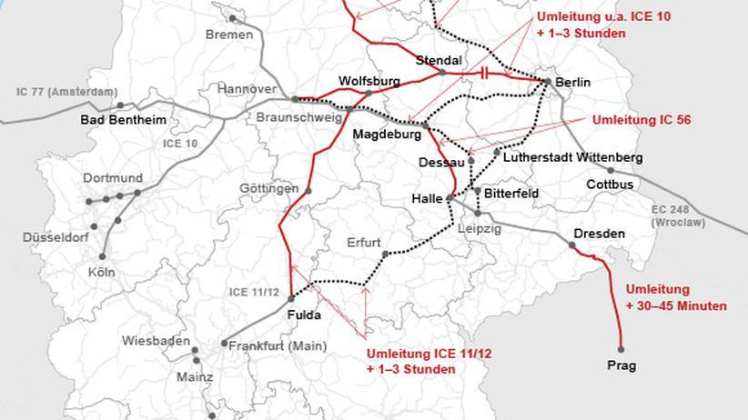 Übersicht über gesperrte Strecken und Verspätungen im Fernverkehr der Deutschen Bahn