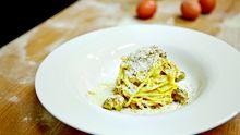 So sehen Spaghetti Carbonara im Pipero al Rex aus.