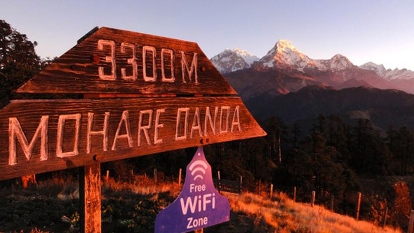Trekkingtour in Nepal: Wlan auf dem Berg Mohare