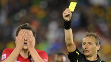 Serbia's midfielder Zdravko Kuzmanovic (L) gets a red card leading to a penalty during the Group D first round 2010 World Cup football match Serbia vs Ghana on June 13, 2010 at Loftus Verfeld stadium in Tshwane/Pretoria. NO PUSH TO MOBILE / MOBILE USE SOLELY WITHIN EDITORIAL ARTICLE -     AFP PHOTO / GIANLUIGI GUERCIA (Photo credit should read GIANLUIGI GUERCIA/AFP/Getty Images)
