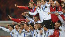 Die deutsche Mannschaft feiert Rang drei bei der WM