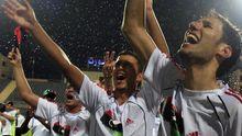 Libyens Fußballer feiern den Sieg über Mosambik im September 2010