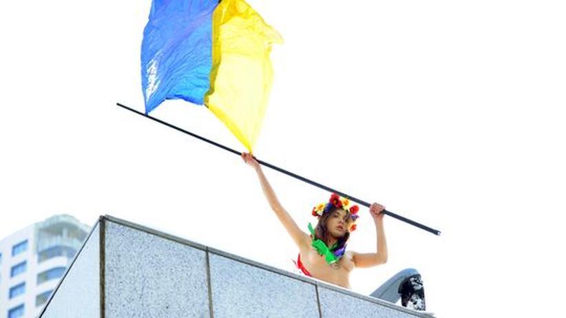 Eine Aktivistin der Femen-Bewegung in Kiew