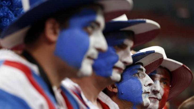 Spanien - Frankreich: Frankreichs blau-weißer Fußballkater